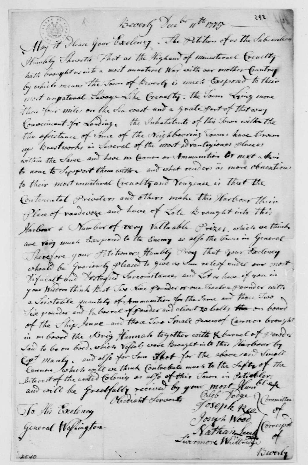 George Washington Papers, Series 4, General Correspondence: Beverly, Massachusetts, Correspondence Committee to George Washington, December 11, 1775, Petition