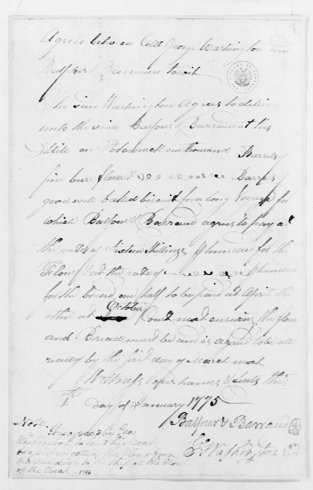 George Washington Papers, Series 4, General Correspondence: George Washington and Balfour & Barraud, January 4, 1775, Contract