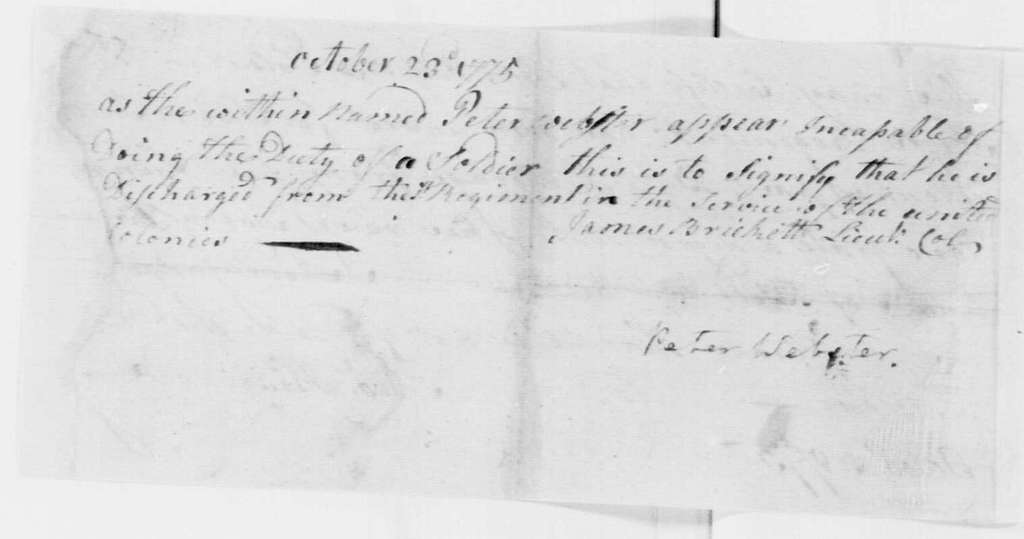 George Washington Papers, Series 4, General Correspondence: James Brickett and Peter Webster, October 23, 1775, Discharge of Peter Webster