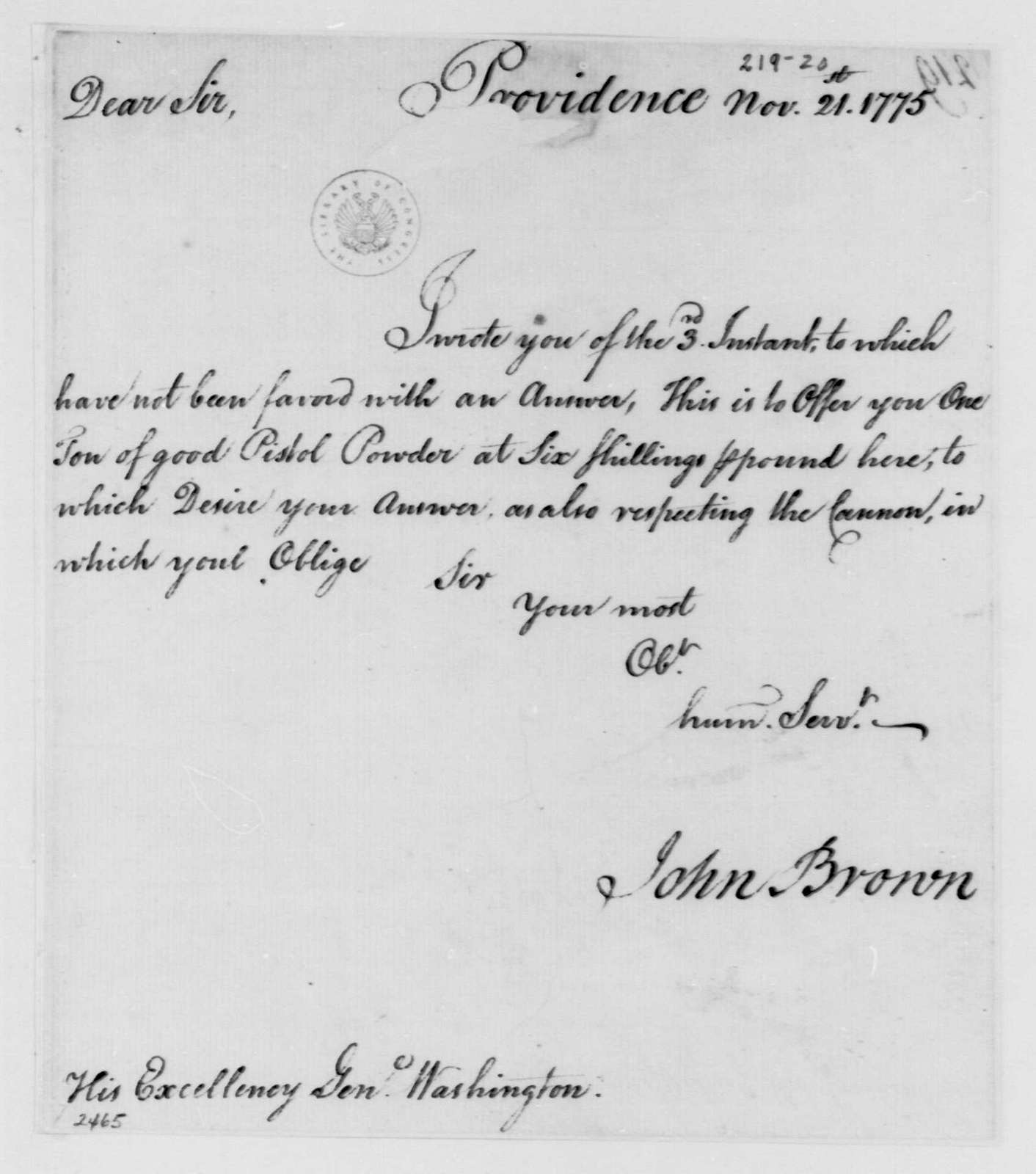George Washington Papers, Series 4, General Correspondence: John Brown to George Washington, November 21, 1775