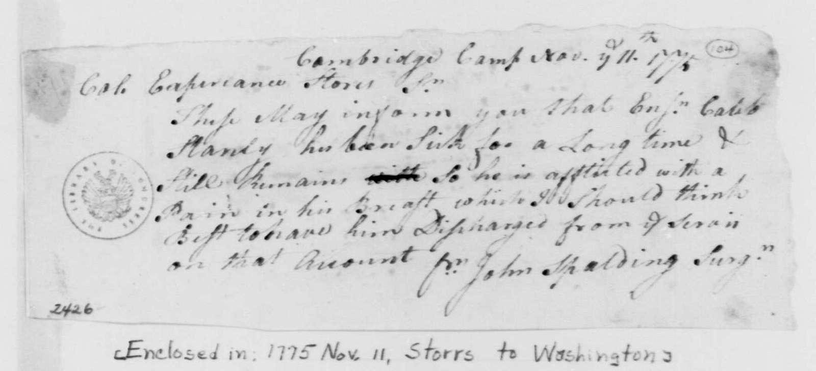 George Washington Papers, Series 4, General Correspondence: John Spalding to Experience Storrs, November 11, 1775