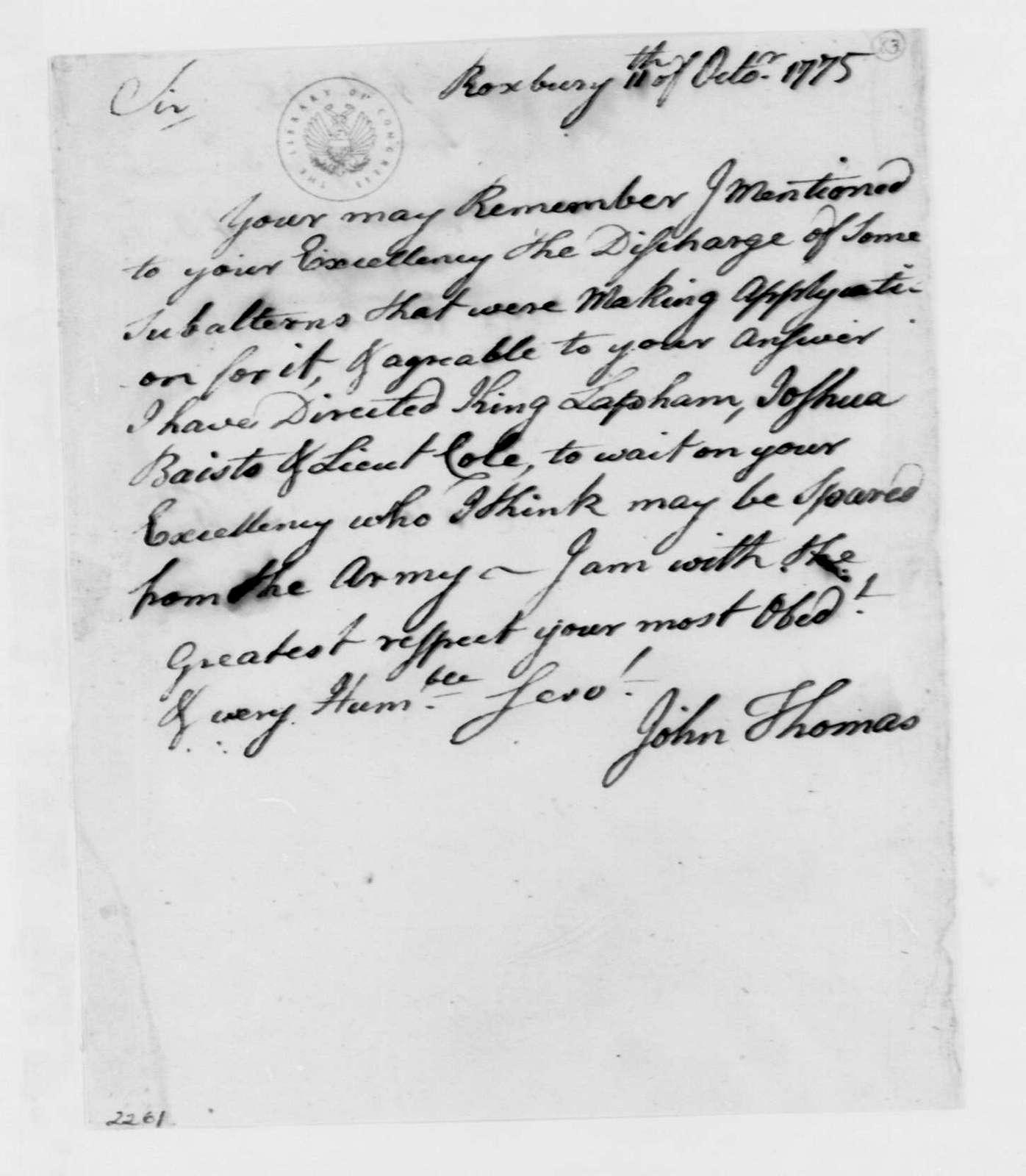 George Washington Papers, Series 4, General Correspondence: John Thomas to George Washington, October 11, 1775