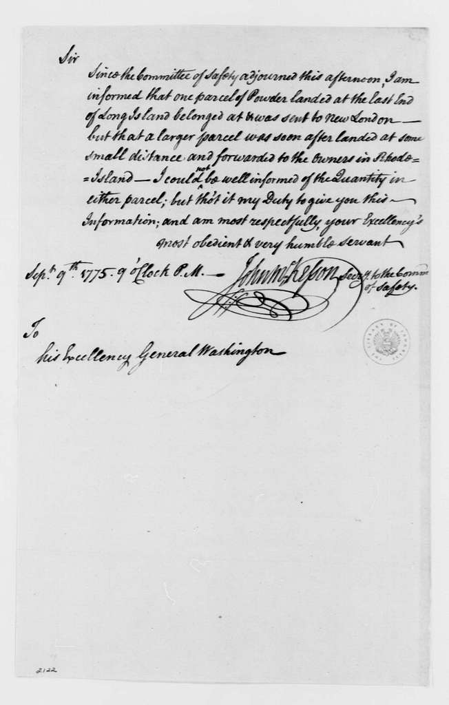 George Washington Papers, Series 4, General Correspondence: New York Safety Committee to George Washington, September 9, 1775, two same date