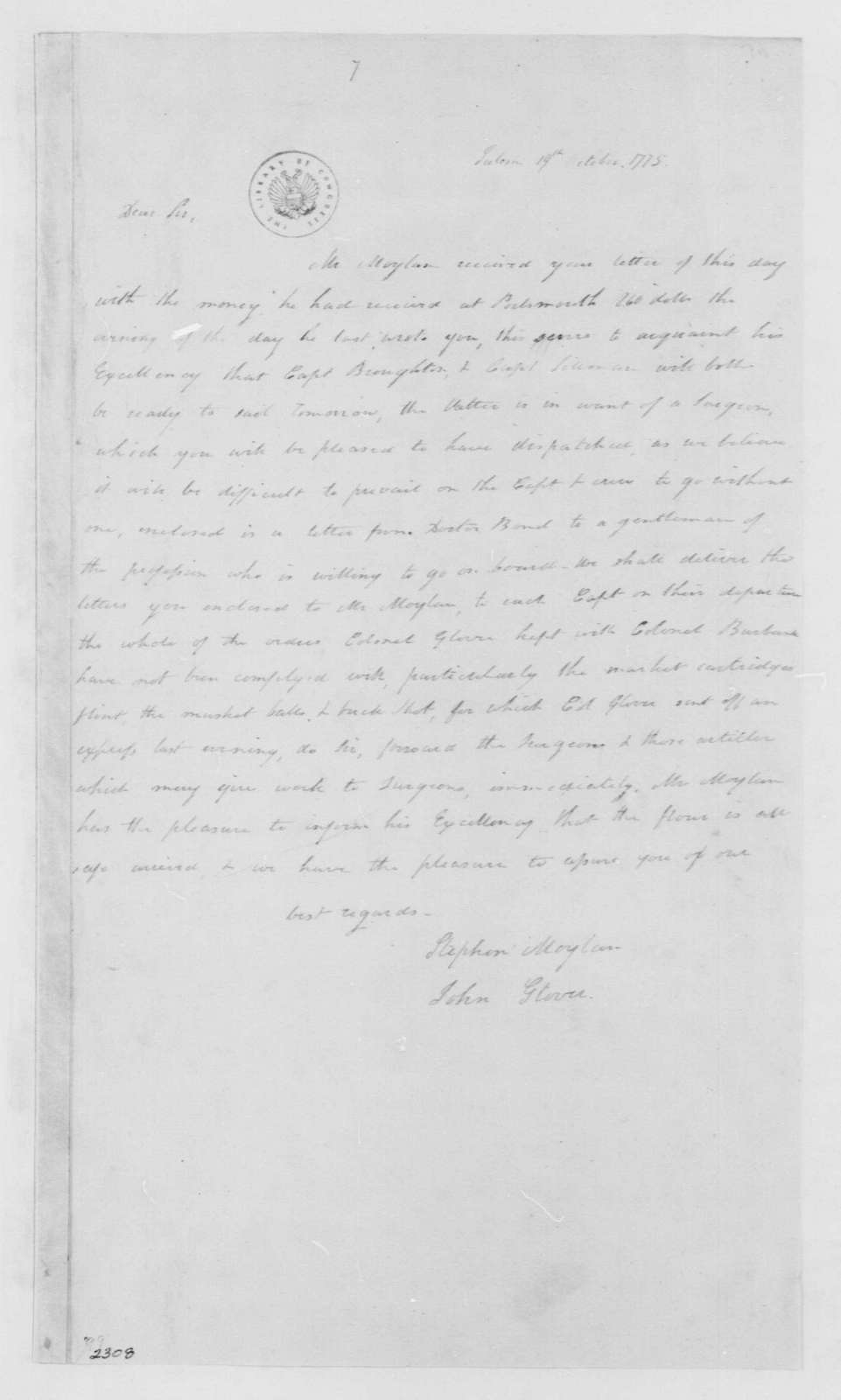 George Washington Papers, Series 4, General Correspondence: Stephen Glover and John Glover to George Washington, October 19, 1775, 19th-century transcription by William B. Sprague