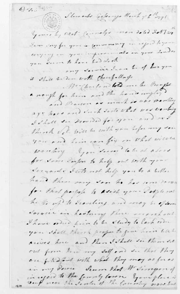 George Washington Papers, Series 4, General Correspondence: William Crawford to George Washington, March 6, 1775