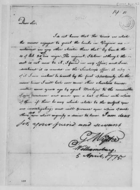George Wythe to Thomas Jefferson, April 5, 1775, Records of Virginia Land Grants