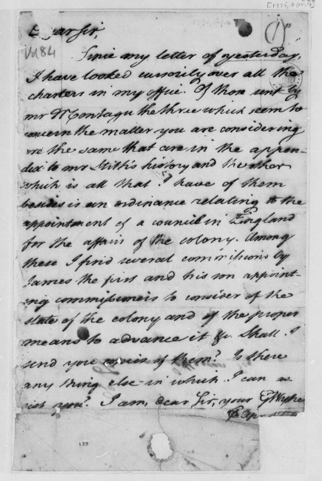 George Wythe to Thomas Jefferson, April 6, 1775, Records of Virginia Land Grants