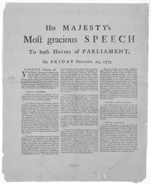His Majesty's most gracious speech to both houses of Parliament, on Friday, October 27, 1775 ... [New York? 1775].