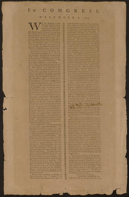 In Congress. December 6, 1775 : We the delegates of the thirteen United Colonies in North America have taken into our most serious consideration a proclamation issued from the Court of St. James's on the twenty-third day of August last. ...