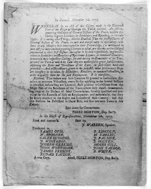 In council. November 7th, 1775. Whereas by an Act of this colony made in the sixteenth year of the reign of George the third, intitled. An act impowering the courts of general sessions of the peace, within this colony to grant licences, to innho