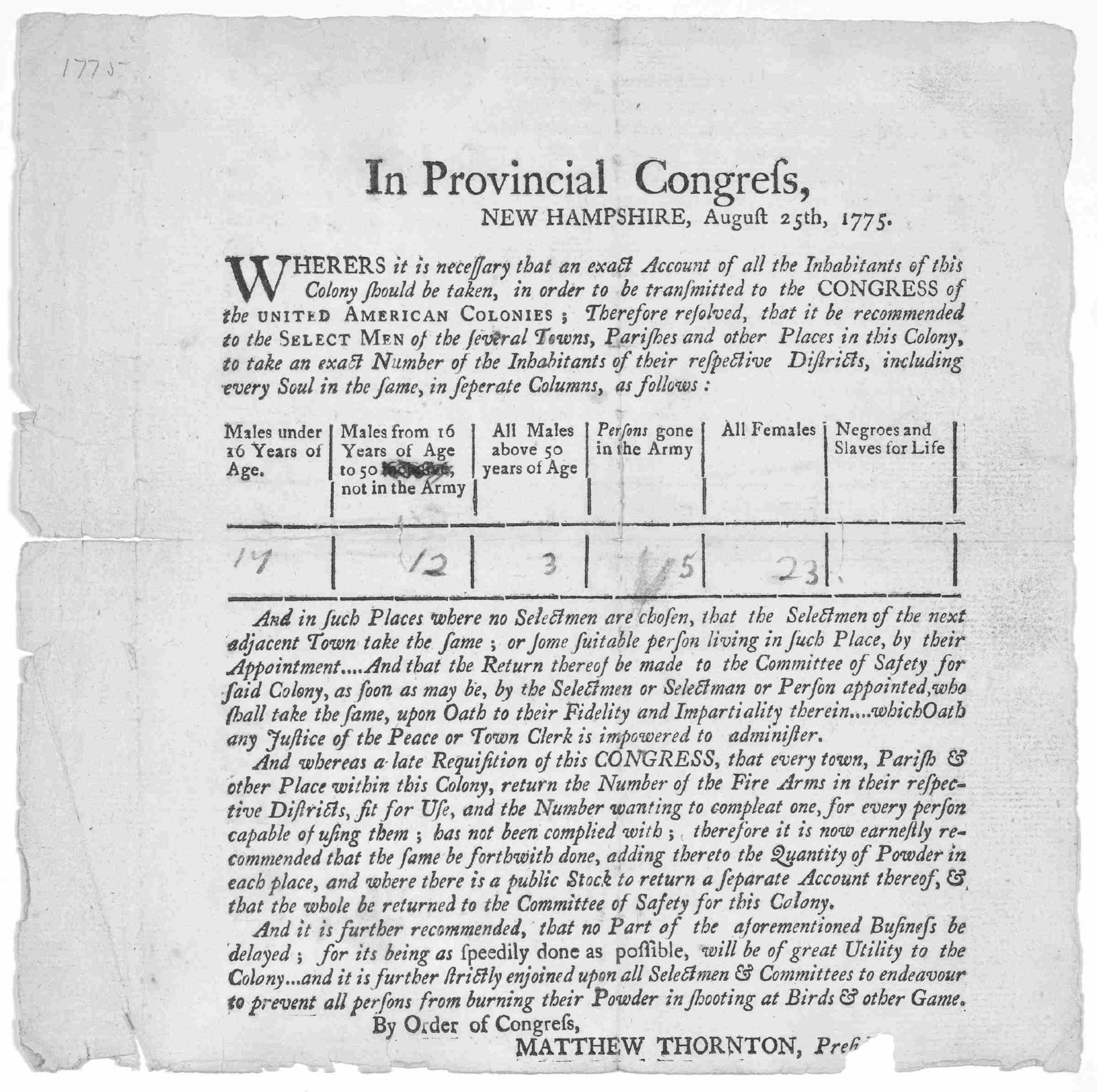 In Provincial congress. New Hampshire, August 25th 1775. Whereas it is necessary that an exact account of all the inhabitants of this Colony should be taken, in order to be transmitted to the Congress of the United American colonies; therefore r