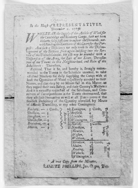 In the House of representatives. December 2, 1775. Whereas the supply of the article of wood for the Cambridge and Roxbury camps, hath not been hitherto fully sufficient to answer the demands, notwithstanding the exertions of this court for that