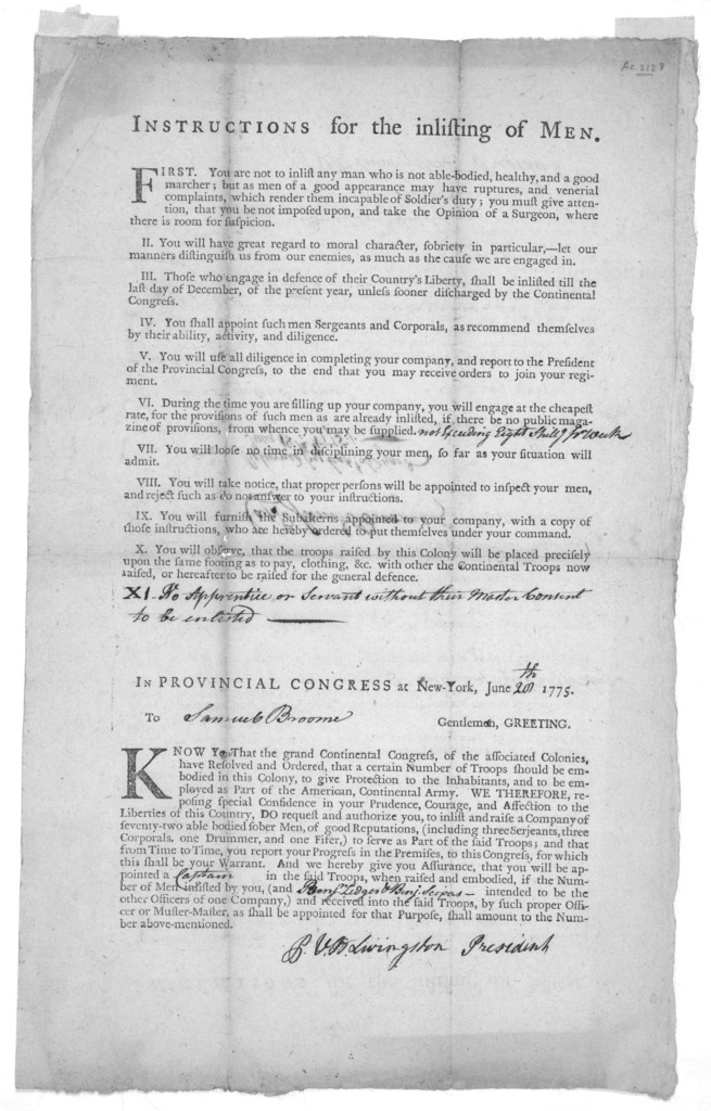 Instructions for the inlisting of men .... In provincial Congress at New-York, June [blank] 1775. To [blank] Gentlemen, Greeting. Know you that the grand Continental Congress ... have resolved and ordered, that a certain number of troops should