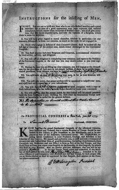 """Instructions for the inlisting of men"" ...In Provincial Congress at New-York, June 20, 1775"