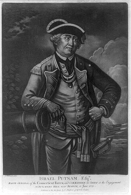 Israel Putnam, Esq'r. - major general of the Connecticut forces, and commander in chief at the engagement on Bunckers-Hill near Boston, 17 June 1775 / J. Wilkinson pinxt.