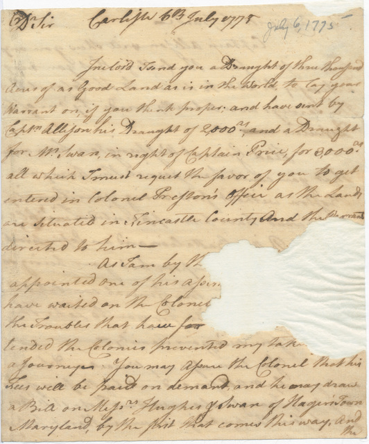 Letter from William Thompson to Evan Shelby