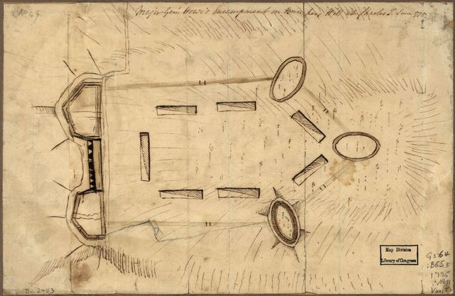 Major Genl. Howe's encampment on Bunkers Hill at Charles T., June 1775.