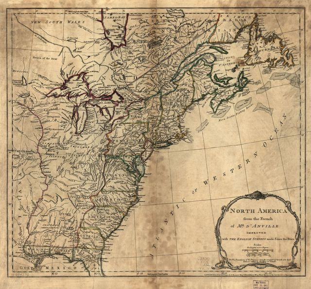 North America from the French of Mr. d'Anville improved with the English surveys made since the peace.