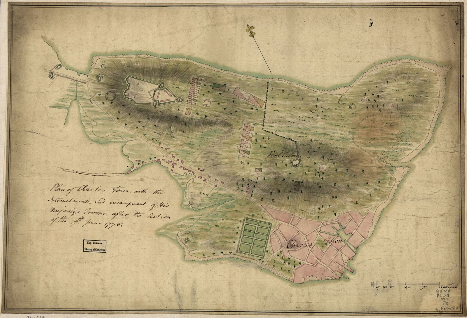 Plan of Charles Town, with the intrenchments, and encampment of His Majesty's troops, after the action of the 17th. June 1775.