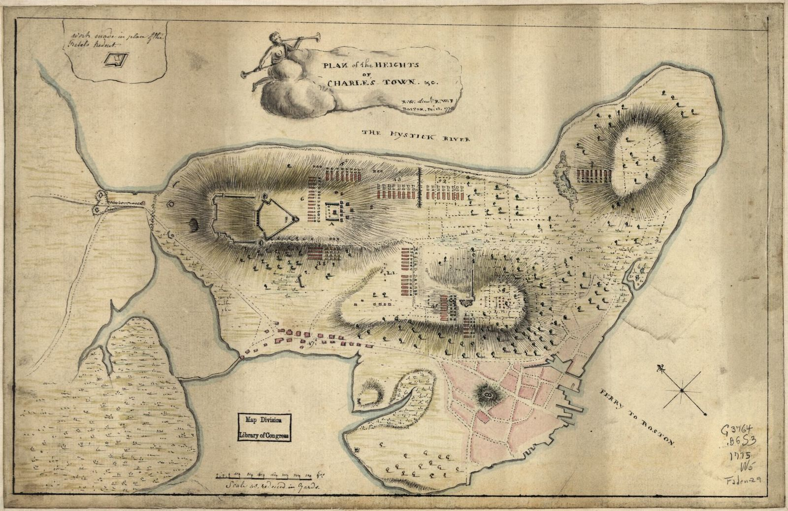 Plan of the heights of Charles Town, &c.