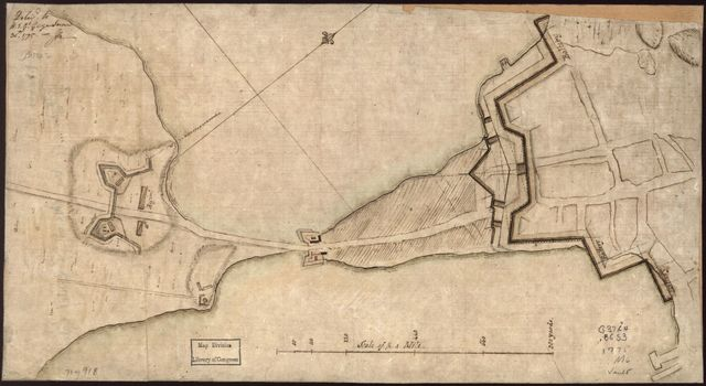 "[Plan of the ""Neck"" and fortifications] Delivd. to H.E. Gl. Gage, June 30th. 1775.--J.M."