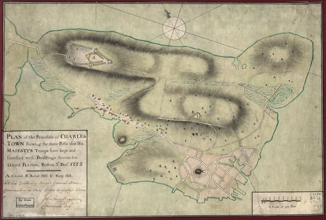 Plan of the peninsula of Charles Town shewing the three posts that His Majesty's troops have kept and fortified with buildings therein for guard rooms, Boston, 3th. [sic] Decr. 1775. To His Excellency Major General Howe, Commander in Chief of His Majesty's forces, &c.