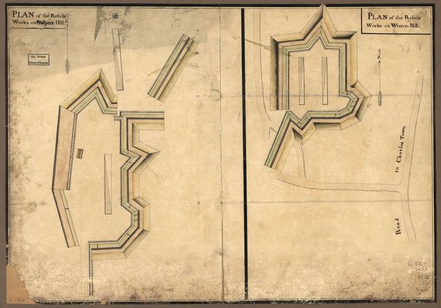 Plan of the rebels works on Prospect-Hill. Plan of the rebels works on Winter-Hill.