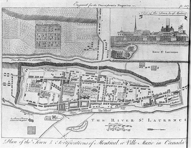 Plan of the town & fortifications of Montreal or ville Marie in Canada - view of the town &c of Montreal / Aitkin sc.