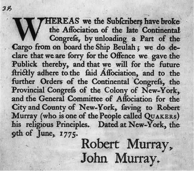 [Public apology by Robt. & John Murray, NY, 1775]