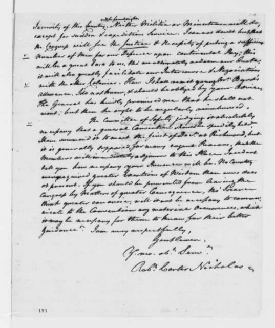 Robert C. Nicholas to Virginia Delegates in Continental Congress, November 25, 1775, Martial Law Proclamation and Recruitment of Negroes by British; Paper Money