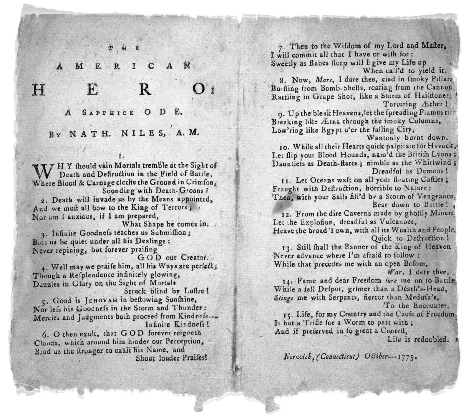The American hero: a sapphick ode by Nath. Niles. A. M. Norwich, (Connecticut) October 1775.