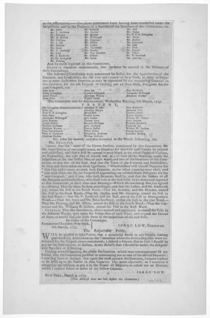 The following extracts from the proceedings of the Committee of observation for the City and County of New York, are by them directed to be published. The committee met, according to adjournment the 27th February, 1775. [On the election of eleve