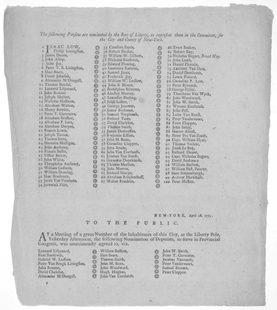 The following persons are nominated by the Sons of liberty, to represent them in the committee, for the City and County of New-York. [List of 100 names] New-York, April 28, 1775. To the public. At a meeting of a great number of the inhabitants o