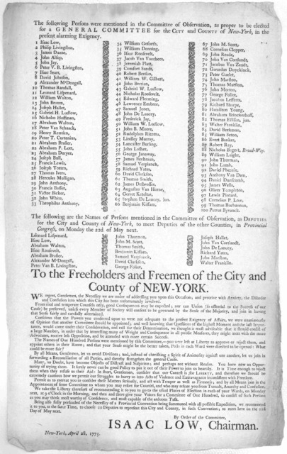The following persons were mentioned in the Committee of Observation, as proper to be elected for a General Committee for the City and County of New-York, in the present alarming exigency [100 names] The following are the names of persons mentio