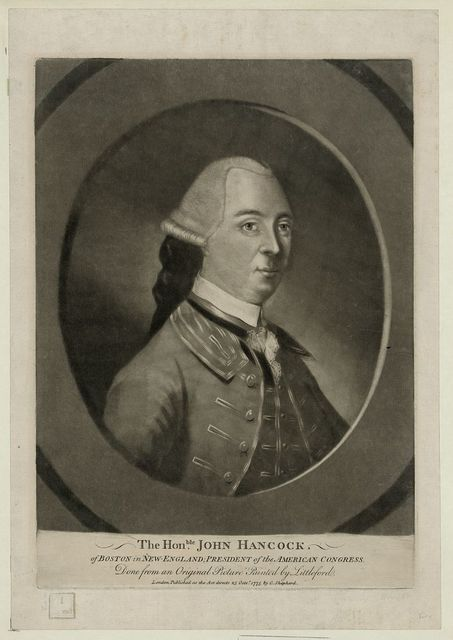 The honble. John Hancock of Boston in New-England, president of the American congress - done from an original picture painted by Littleford