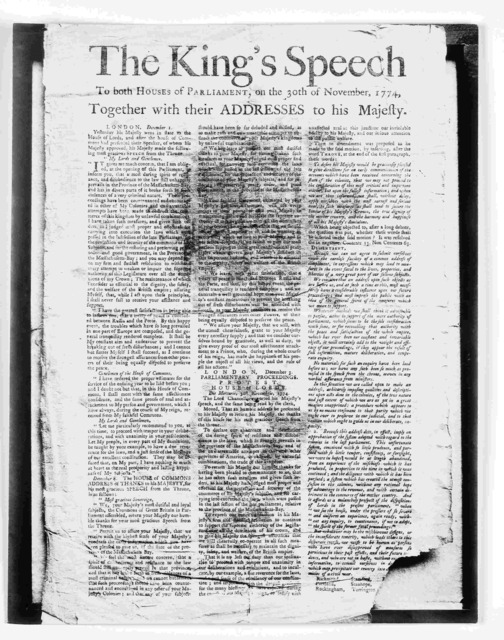 The King's speech to both houses of Parliament, on the 30th of November, 1774. Together with their addresses to his Majesty. [Boston: Printed by Mills & Hicks? 1775].