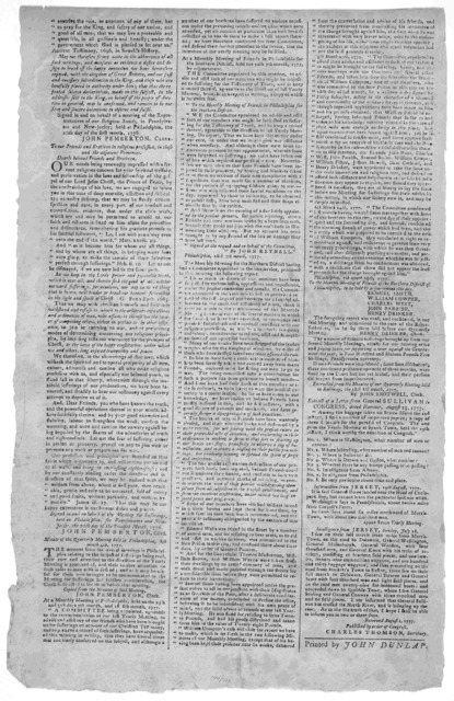 ... The testimony of the people called Quakers, given forth by a meeting ... held at Philadelphia the twenty-fourth day of the first month, 1775 [And subsequent documents, 1776-1777. Philadelphia] John Dunlap [1777].