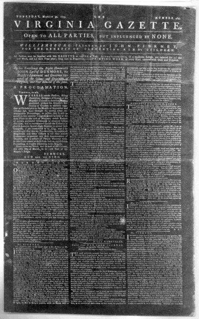 The Virginia gazette. Williamsburg: Printed by John Pinkney for the benefit of Clementina Rind's children. March 30, 1775. [Negative Photostat.].