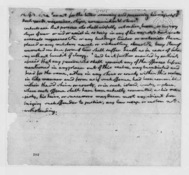 Thomas Jefferson, 1775, Summary of British Armaments Act