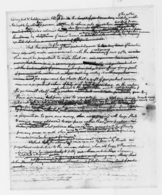 Thomas Jefferson, July 31, 1775, Draft of Continental Congress Resolutions on Lord North's Conciliatory Proposal; with Amendment by Benjamin Franklin