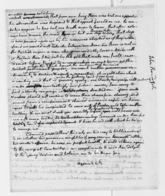 Thomas Jefferson to John Randolph, November 29, 1775, Canadian Campaign; Relations with Great Britain