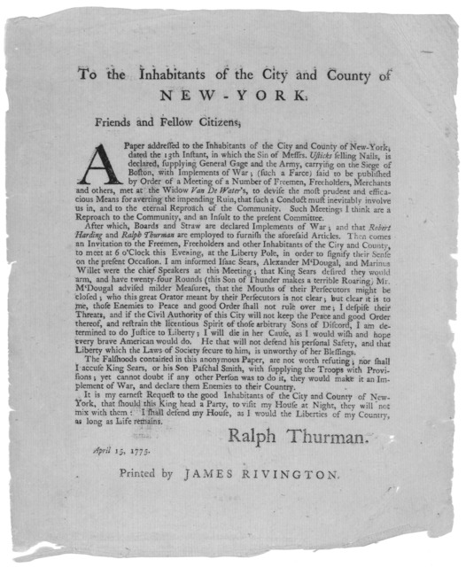 To the inhabitants of the City and County of New-York. Friends and Fellow Citizens. A paper addressed to the inhabitants of the City and County of New-York dated the 13th instant, in which the sin Messrs Usticks selling nails is declared, supply