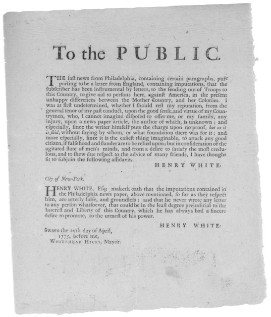 To the public. The last news from Philadelphia, containing certain paragraphs, purporting to be a letter from England, containing imputations, that the subscriber has been instrumental by letters, to the sending out of troops to this country, to