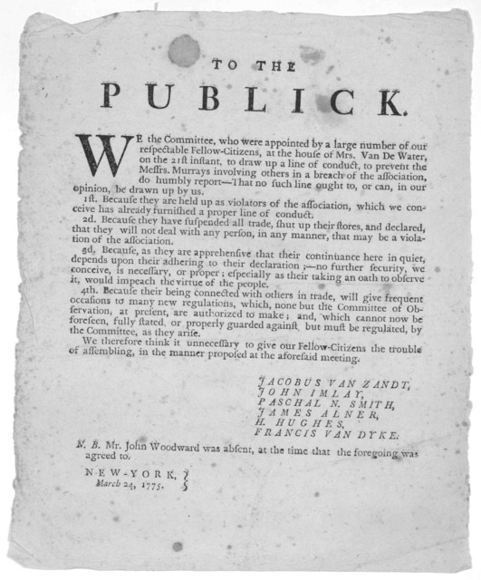 To the publick. We the Committee, who were appointed by a large number of our respectable fellow-citizens, at the house of Mrs. Van de Water on the 21st instant to draw up a line of conduct, to prevent the messrs. Murrays involving others in a b