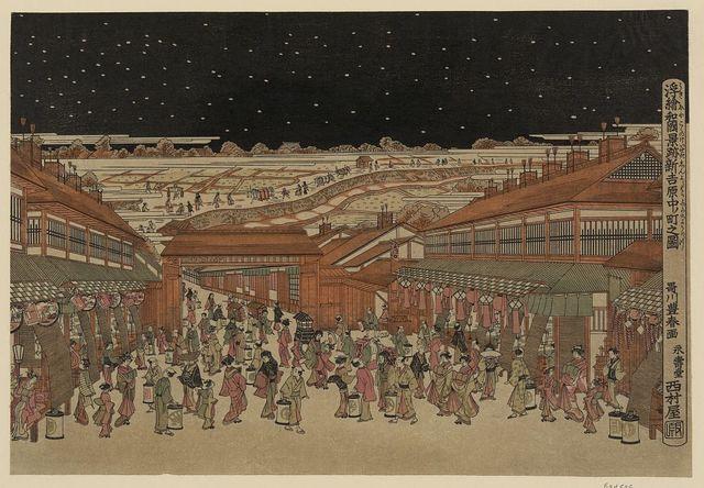 Ukie wakoku no keiseki shin-yoshiwara nakanochō no zu