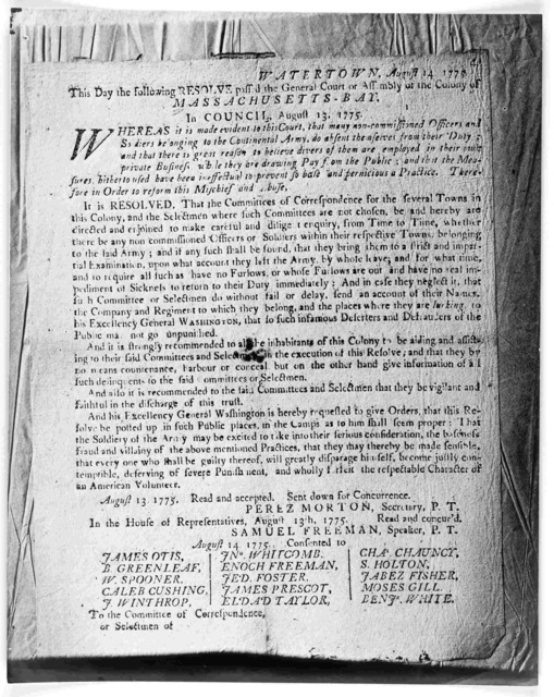 Watertown, August 14, 1775. This day the following resolve pass'd the General Court or Assembly of the Colony of Massachusetts-Bay in Council. August 13, 1775. Whereas it is made evident to this Court, that many non-commissioned officers and sol