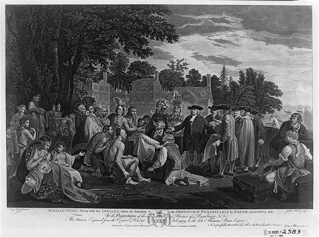 William Penn's treaty with the Indians, when he founded the province of Pennsylvania in North America 1681 / Benj. West pinxit ; John Boydell excudit 1775 ; John Hall sculpsit.