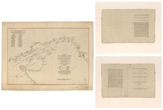 A chart of Delaware Bay and River, containing a full & exact description of the shores, creeks, harbours, soundings, shoals, sands, and bearings of the most considerable land marks, from the cape to Philadelphia.