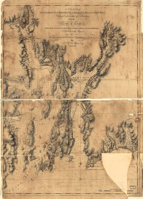 A chart of the harbour of Rhode Island and Narraganset Bay.