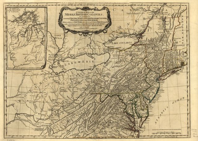 A general map of the middle British colonies, in America. Containing Virginia, Maryland, the Delaware counties, Pennsylvania, and New Jersey. With the addition of New York, and the greatest part of New England, as also of the bordering parts of the province of Quebec, improved from several surveys made after the late war, and corrected from Governor Pownall's late map 1776.
